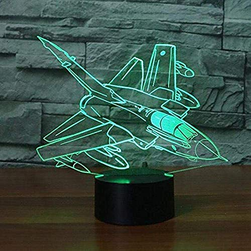 Avión 3D luz nocturna lámpara de noche Fantasy Animales Luz nocturna 7 colores Touch Switch lámpara de mesa luz decorativa regalo perfecto con pantalla acrílica ABS base cable USB juguete