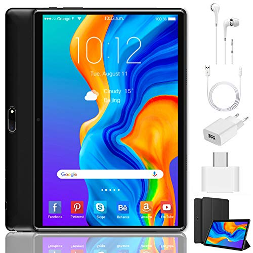 Tablet 10 Pollici Android 9.0 Pie 64 GB ROM 4 GB RAM Tablets PC con Doppia SIM | 8000mAh | WiFi | GPS | Bluetooth | Type-C | Doppia Fotocamera (8MP+5MP) (nero)