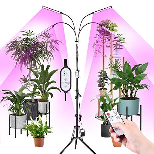 RUNACC Pflanzenlampe LED Pflan Grow Licht - 192 LED Stativ Pflanlicht 360°Einstellbar Vollspektrum Wachstumslampe mit Fernbedienung & Zeitschaltuhr 10Helligkeit Zimmerpflanzen lampe für Alle Pflanzen