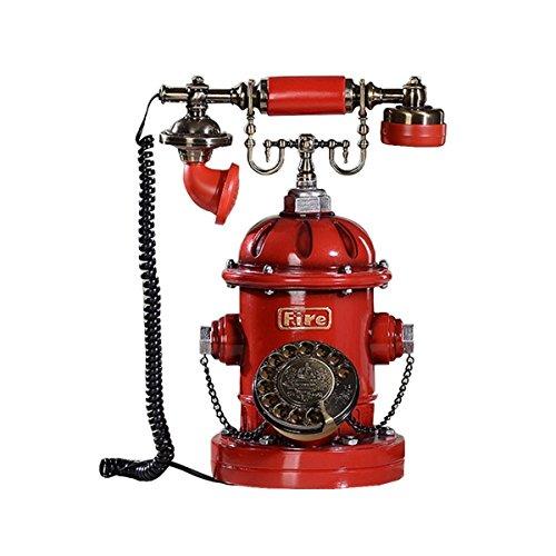 AJZGF Telefon Rot Vintage Klassischen Taste Bluescreen Harz Vintage Retro Home Office Festplatte Plattenspieler Telefon Telefon,Rotatedial