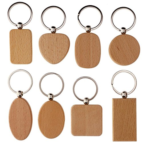 WXLAA DIY Blank Wooden Key Chain Personalized EDC Wood Keychains Best Gift