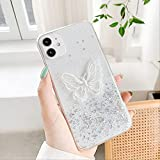 3D Cute Butterfly Case para iPhone XR Funda Glitter Bling Silicon Fundas para iPhone 11 12 Pro MAX 7 8 SE 2020 X XS 6 6s Plus Funda para iPhone 8 One Butterfly Silver