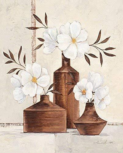 Leinwand-Bild - Claudia Ancilotti: Classic Mood 24 x 30 cm modernes Florales Stillleben weisse Blüten