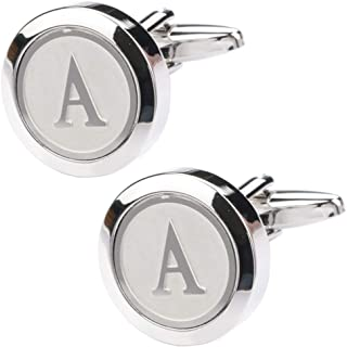 Mens Classic Stainless Steel Initial Cufflinks 26...