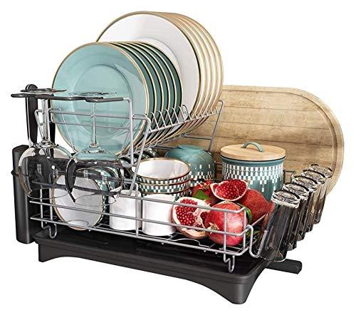 Égouttoir Scaffale da cucina a 2 piatti a 2 livelli e set di scarico, portaviglie di asciugatura del piatto di grande capacità con scolastio del piatto, rack di scarico completamente personalizzabile
