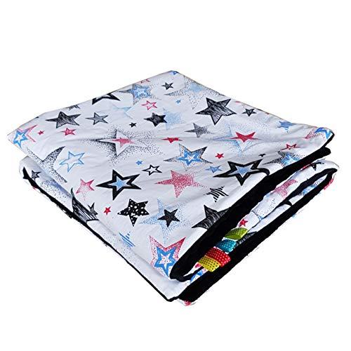 Manta de bebé Minky con estrellas, color blanco, rojo, azul y negro, 75 x 100 cm, muy suave y esponjosa, hecha a mano