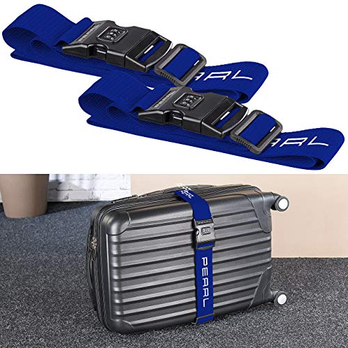 PEARL Kofferbänder: 2er-Set Koffergurt mit 3-stelligem Zahlenschloss, 5 x 180 cm (Koffergurt verstellbar)