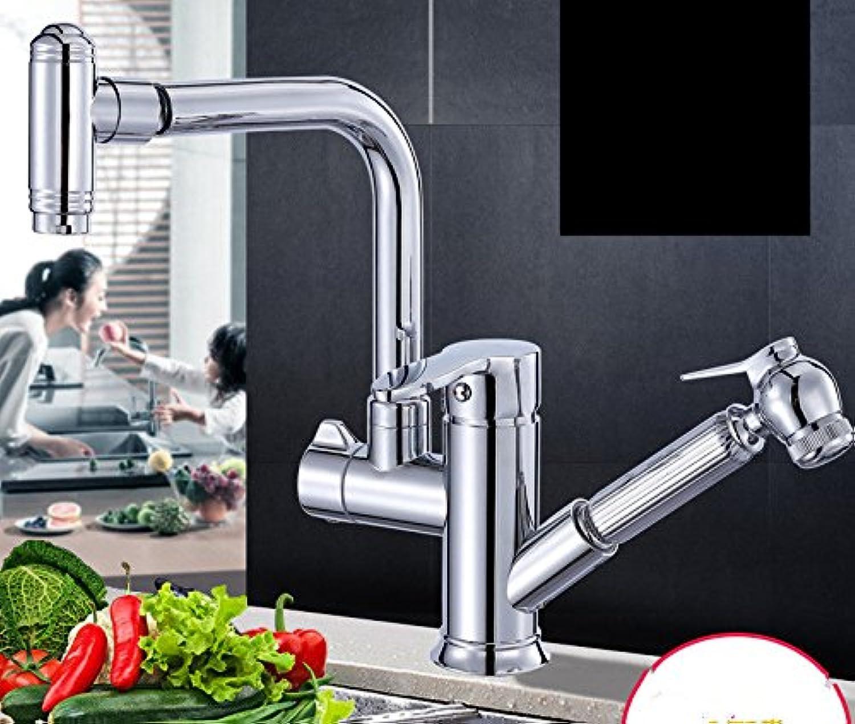 MEIBATH Wasserhahn Küche Spültischarmatur Küchenarmatur Armatur Mischbatterie Ziehen Sie kalt Hei Messing schwenkbarer Auslauf ausziehbar Chrom Wasserhahn