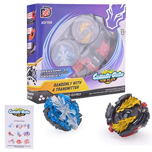 FORMIZON 2 Stück Gyro Burst Starter Set 4D Gyro Fusion Modell Metall Masters Beschleunigungslauncher Speed Kreisel mit Arena für Kindertag, Ostern, Weihnachten, Geburtstag und Neues Jahr