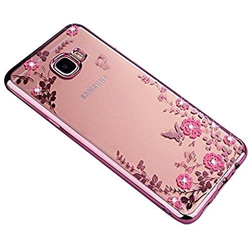 SevenPanda Note 8 Hülle, Galaxy Note 8 2017 Schutzhülle, Samsung Note 8 Case, Galaxy Note 8 Hülle Schmetterling Blumen Rebe Glänzend Diamanten Überzug Bumper für Samsung Galaxy Note 8 2017 - Roségold