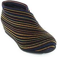 Zapato Abotinado con cuña Interior, Exterior elástico en fantasía. (Multicolor, Numeric_37)
