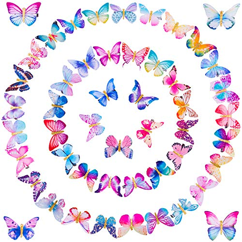 SIQUK 50 Pcs Butterfly Clips 90s Butterfly Hair Clip Alligator Hair Clips with Moving Wings Glitter Butterfly Hair Clip for Women and Girls