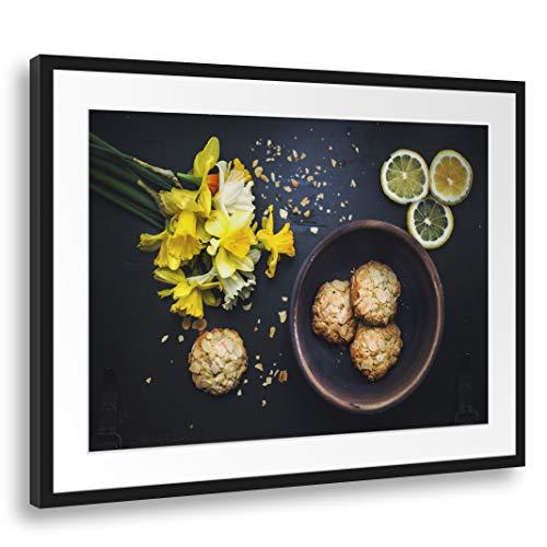 Printed Paintings Passepartout (80x60cm): Wandbild Küchendeko Kekse Mandelsplitter gelbe Blüten Z