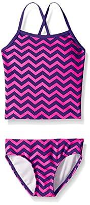 Kanu Surf Girls' Big Melanie Beach Sport 2-Pc Banded Tankini Swimsuit, Alexa Purple Chevron, 10