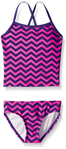 Kanu Surf Girls' Big Melanie Beach Sport 2-Pc Banded Tankini Swimsuit, Alexa Purple Chevron, 12