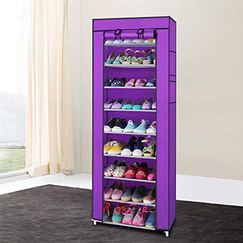 HOBBYN Shoe Rack,10 Tiers Shoe Rack with Dustproof Cover Closet Shoe Storage Cabinet Organizer...