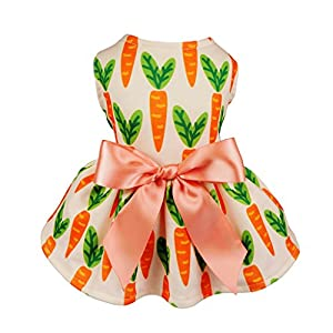 Fitwarm Eastser Day Carrot Ribbon Pet Clothes for Dog Dresses Party Vest Puppy Shirts Sundress Orange