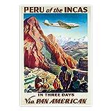 Visit Peru Reise-Poster 16,5 x 23,4 cm Vintage Deko