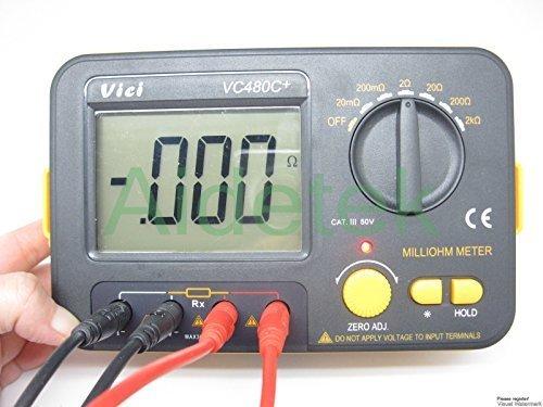 aidetek Präzision Milliohm Meter VS Megger 4Draht Kelvin Clip 0einstellen Große LCD Backlit LCD Daten halten Manuelle Zero Display Einstellung