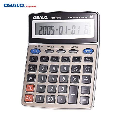 Ajcoflt OSALO OS-802CK Calculadora electrónica de escritorio musical multifunción Contador LCD de 12 dígitos con reloj despertador Calendario Funciones de lectura de voz pueden tocar piano