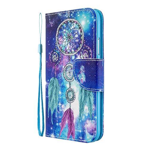 LEMAXELERS Galaxy A20S Hülle,Samsung Galaxy A20S Handyhülle Blauer Traumfänger Mädchen Flip Hülle PU Leder Cover Magnet Schutzhülle Tasche Ständer Handytasche für Samsung Galaxy A20S,HX Dreamcatcher