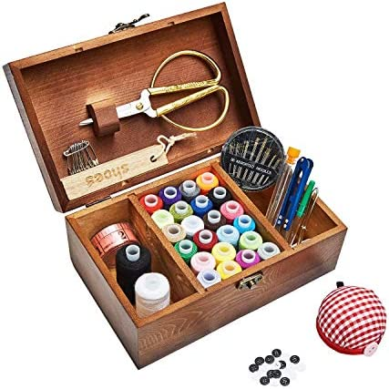 Sewing Kit Wooden Sewing Basket with Accessories Sewing Box with Sewing Kit Accessories for product image