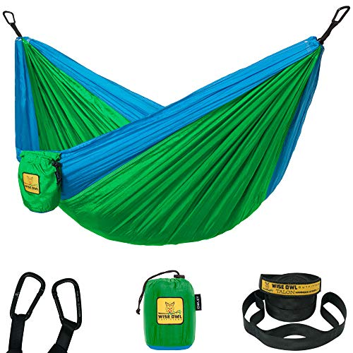 Wise Owl Outfitters Kids Hammock for Camping Owlet Kid & Gear Sling Hammocks for The Outdoors Backpacking Travel or Fun! Portable Lightweight Parachute Nylon Hammock OW Green & Blue