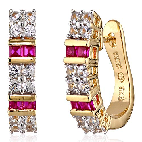 18K Yellow Gold Plated .925 Sterling Silver Square-Cut Created Ruby and White Sapphire Hinged 3/4' Hoop Earrings