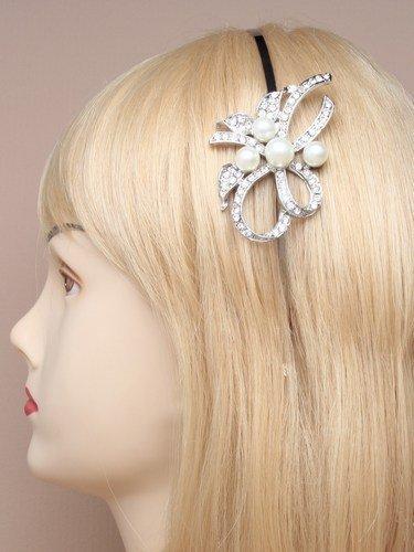 9179 étroit aliceband Argent avec perle en cristal fleur mariage Prom