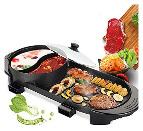 LHY 2 in 1 elektrische Barbecue Hot Pot Doppelbacken Kochen, Großraum Haushalt für 2-12 Personen, Antihaftbeschichtung und schnelle Hitze für Familiengarten Camping Grill BBQ Utensil