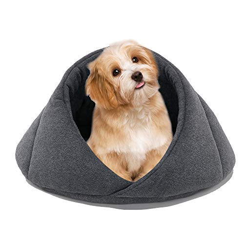 JULY'S SONG Hundebett Katzenbett Haustierbett Waschbar, Hundehütte Höhlenbett Katzenhöhle Warm für Kleine Mittelgroße Hunde Katze Kaninchen (M, Grau)