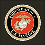 Edward & Co Sticker Proud Dad of a Marine Corp USMC Semper Fi Decal United States Army Military for Car Truck Window Laptop Bumper US Flag 3,75 in