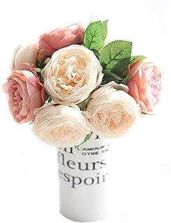 CQURE Artificial Flowers,Fake Silk Flowers 5 Heads Peony Wedding Bouquet Flower Arrangement for Home Decor Party Floral Centerpieces Decoration(Pink Champagne) …