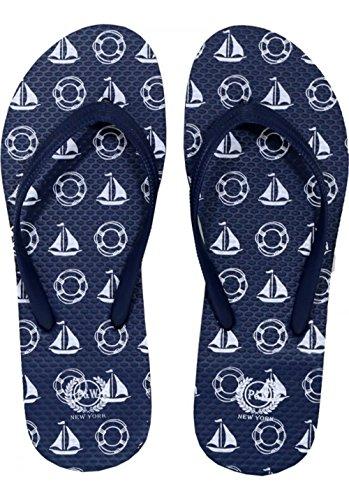 Beaute Fashion Trendy Nautical Sailboat Anchor Starfish Flip Flops Mermaid Thong Sandal Slipper (Medium (7-8), Navy Sailboat)