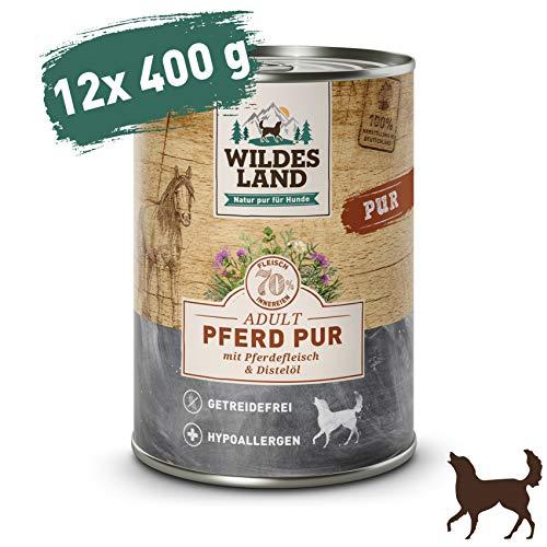 Wildes Land | Nassfutter für Hunde | Pferd PUR | 12 x 400 g | mit Distelöl | Getreidefrei & Hypoallergen | Extra hoher Fleischanteil von 70% | Beste Akzeptanz und Verträglichkeit