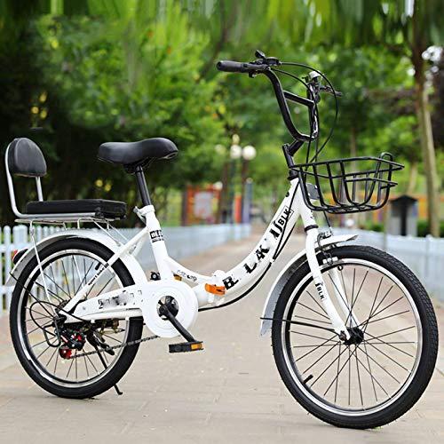 BEIGOO Faltrad/Klapprad,6 Gang-Schaltung Leicht Tragbares Klapp Fahrrad Folding Bike für Damen Herren Student-Weiß-24Zoll