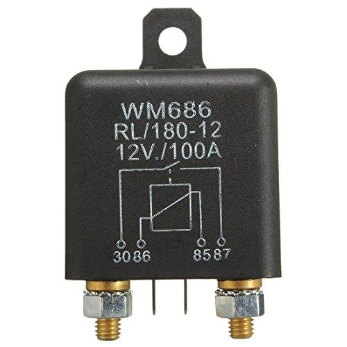 Jeromeki 12V 100Amp Interruptor de Encendido/Apagado de Servicio Pesado de 4 Pines Relé de Carga Dividida para Auto Boat Van Negro