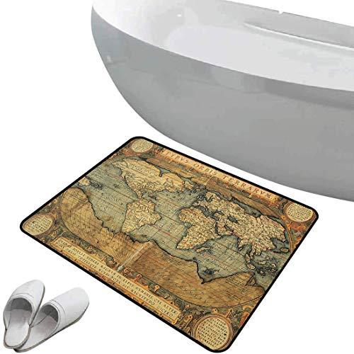 Smallgrid Non-Slip Bathroom Rug World Map Soft Skidproof Bath Mat Safe Area Ancient Old Chart Vintage Reproduction of 16th Century Atlas Print,Multi Doormat Bedroom Living Room Kitchen Decoration