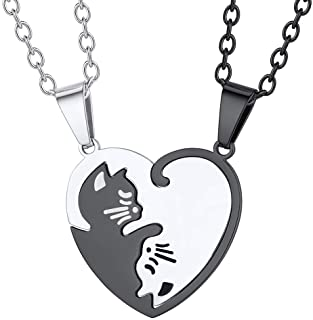 FaithHeart Puzzle Matching Necklace, Stainless Steel/18K Gold Plated Heart Cat/Yin Yang/Tree of Life BFF Pendant Jewelry f...