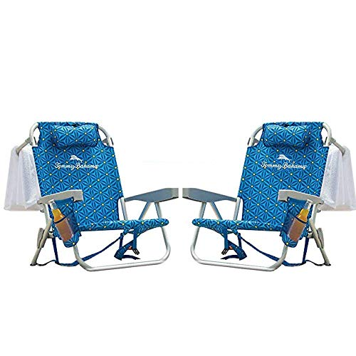 Tommy Bahama Backpack Beach Chair Blue Flower 2 Pack