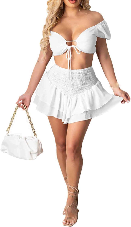 Women's Two Piece Outfit Off Shoulder Drawstring Crop Top Skirt Set Summer 2 Piece Outfits Dress Suit Sets