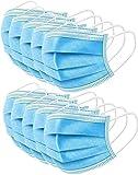 50 Stück Mundschutz Masken Mund-Nasen-Schutz Staubmasken mit Ohrenschlaufe, Blau Einweg Vlies Hygienemaske Gesichtsmaske 3 lagig gegen Verschmutzungen Staub (50 Stück)