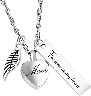 Dletay Urn Necklace for Ashes Cremation Jewelry for Ashes Memorial Ashes Keepsakes Jewelry-Forever in My Heart