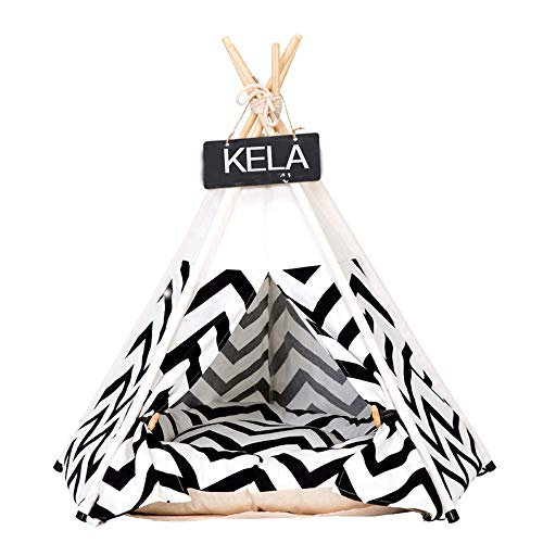 Dogs Bed Tent Black And White Zigzag Stripes Zebra PatternCat Nest, Lamb Velvet Cat Litter Dog House Puppy Dog House Teddy Small Dog Four Seasons Kennel,(S,With Cushion) (Color : Black, Size : S)