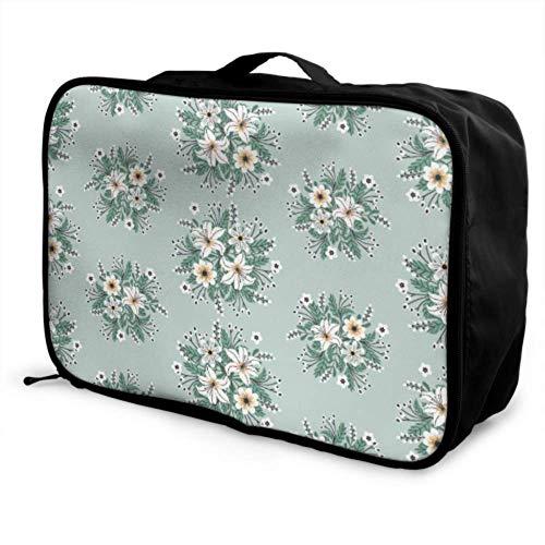 Custom Carry On Luggage Garment Bag Lightweight Beautiful Spring Retro Romantic Wreath Best Travel Duffel Bag Foldable Portable Storage Luggage Bag With Trolley Sleeve