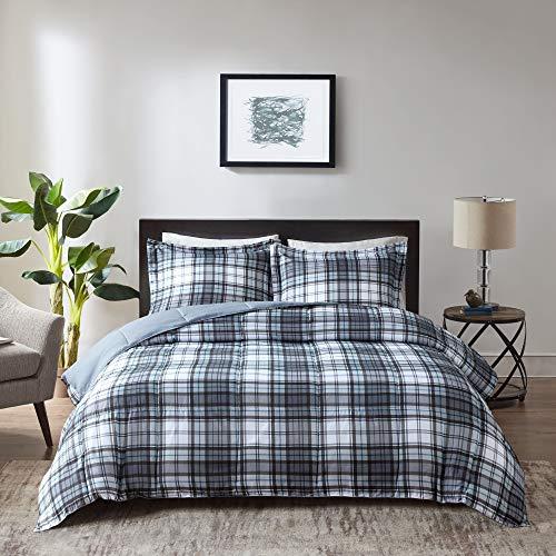 Madison Park Essentials Parkston Plaid Comforter, Matching Sham, 3M Scotchguard Stain Release Cover, Hypoallergenic All Season Bedding-Set, Twin/Twin XL, Grey