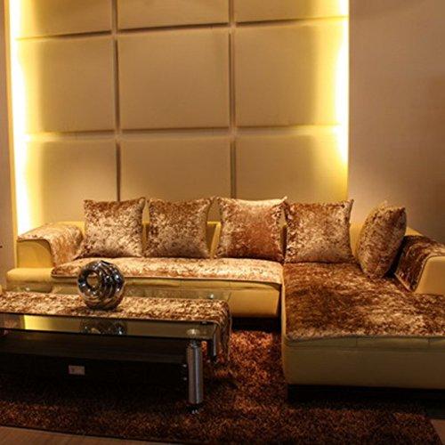TopJiä Plüsch Anti-rutsch Sofabezug Für Ledersofa, Samt Sofahusse Wohnzimmer Sofa Abdeckung Sofaüberwurf Couchbezug Schonbezug-golden 70x70+70x150+70x210cm