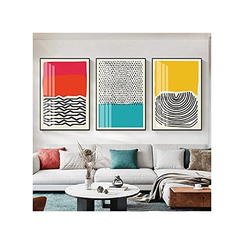 YiShuHua Abstracto Arte Fondo Pintura, Moderno Colorido Rojo Azul Amarillo Abstracto línea geométrica Pintura Imagen Cartel impresión para la Sala de Estar decoración del hogar 3 unids frameloss