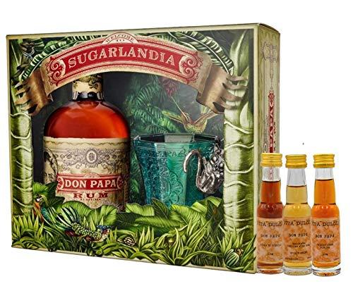Don Papa Geschenkset - Rum 0,7l + Glas + 3 Vita Dulcis Miniaturen 0,02l (Don Papa 10 Jahre, Don Papa Masskara, Don Papa Sherry Cask) - Rum aus Negros