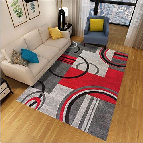 QJWY-Home Modernas Diseño Alfombras Antideslizante Suave Dormitorio Alfombras Alfombra Salón de área Grande Geometría semicírculo Gris Negro Rojo 100X160CM